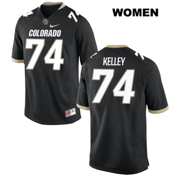 Alex Kelley Womens Black Stitched Colorado Buffaloes Authentic Nike no. 74 College Football Game Jersey - Alex Kelley Jersey