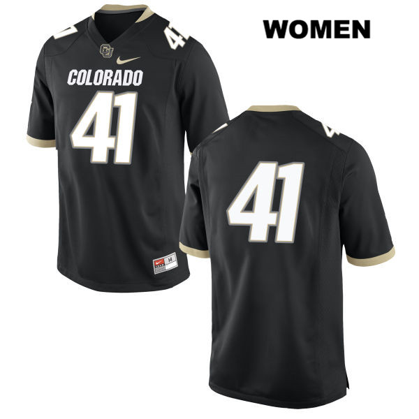 Nike Andrew Bergner Womens Stitched Black Colorado Buffaloes Authentic no. 41 College Football Game Jersey - No Name - Andrew Bergner Jersey