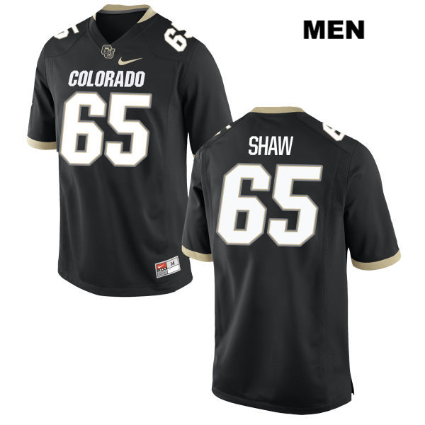 Austin Shaw Mens Black Nike Colorado Buffaloes Authentic Stitched no. 65 College Football Game Jersey - Austin Shaw Jersey
