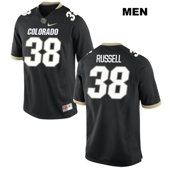 Brady Russell Mens Nike Black Colorado Buffaloes Stitched Authentic no. 38 College Football Game Jersey - Brady Russell Jersey