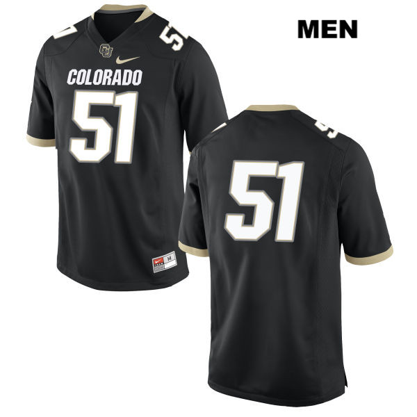 Bryan Meek Mens Stitched Black Nike Colorado Buffaloes Authentic no. 51 College Football Game Jersey - No Name - Bryan Meek Jersey