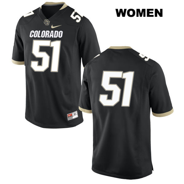 Bryan Meek Womens Black Stitched Colorado Buffaloes Nike Authentic no. 51 College Football Game Jersey - No Name - Bryan Meek Jersey