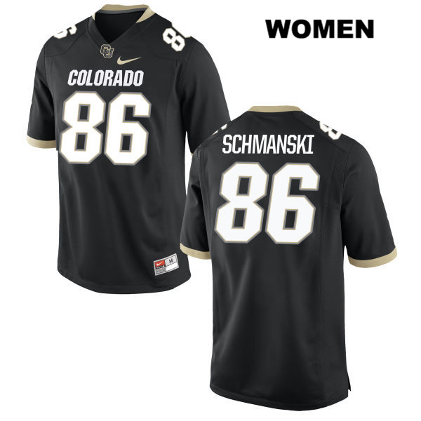 C.J. Schmanski Womens Nike Black Colorado Buffaloes Authentic Stitched no. 86 College Football Game Jersey - C.J. Schmanski Jersey