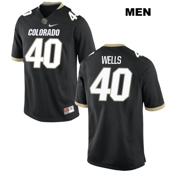 Carson Wells Mens Black Stitched Colorado Buffaloes Authentic Nike no. 40 College Football Game Jersey - Carson Wells Jersey