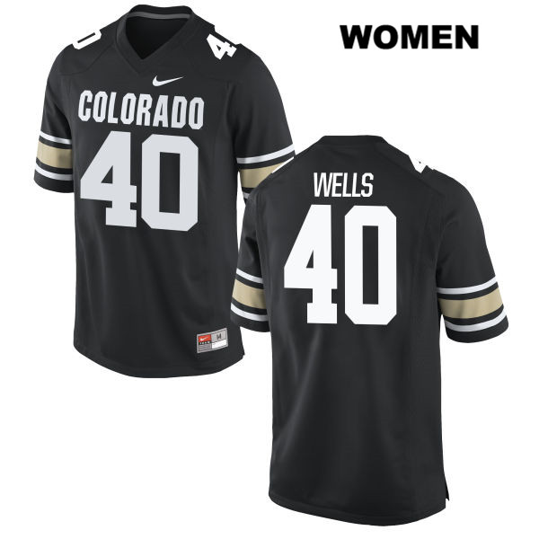 Stitched Carson Wells Womens Black Colorado Buffaloes Authentic Nike no. 40 College Football Jersey - Carson Wells Jersey