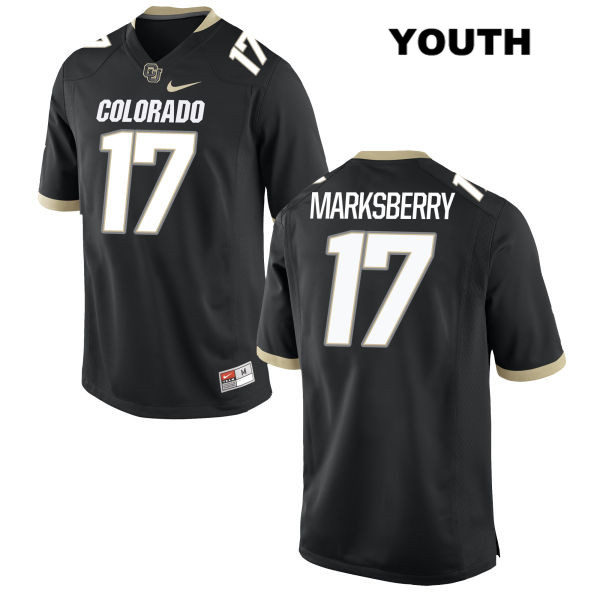 Casey Marksberry Stitched Youth Black Colorado Buffaloes Nike Authentic no. 17 College Football Game Jersey - Casey Marksberry Jersey