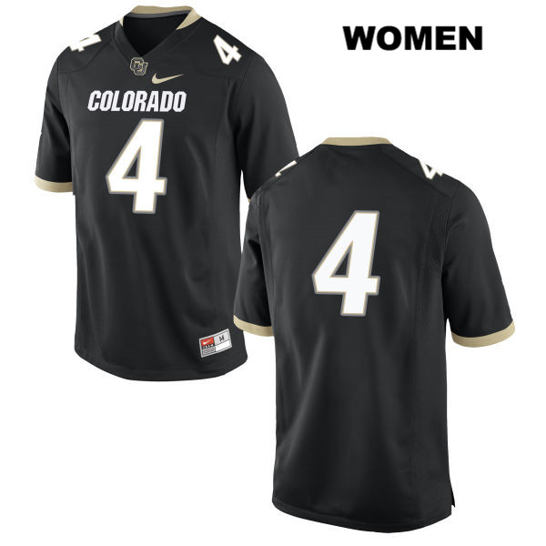 Chidobe Awuzie Womens Nike Black Colorado Buffaloes Authentic Stitched no. 4 College Football Game Jersey - No Name - Chidobe Awuzie Jersey