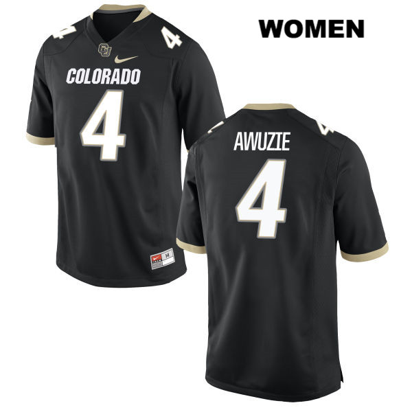 Chidobe Awuzie Womens Stitched Black Nike Colorado Buffaloes Authentic no. 4 College Football Game Jersey - Chidobe Awuzie Jersey