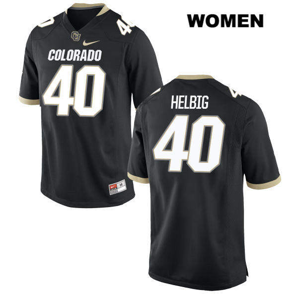 Chris Helbig Womens Stitched Black Nike Colorado Buffaloes Authentic no. 40 College Football Game Jersey - Chris Helbig Jersey