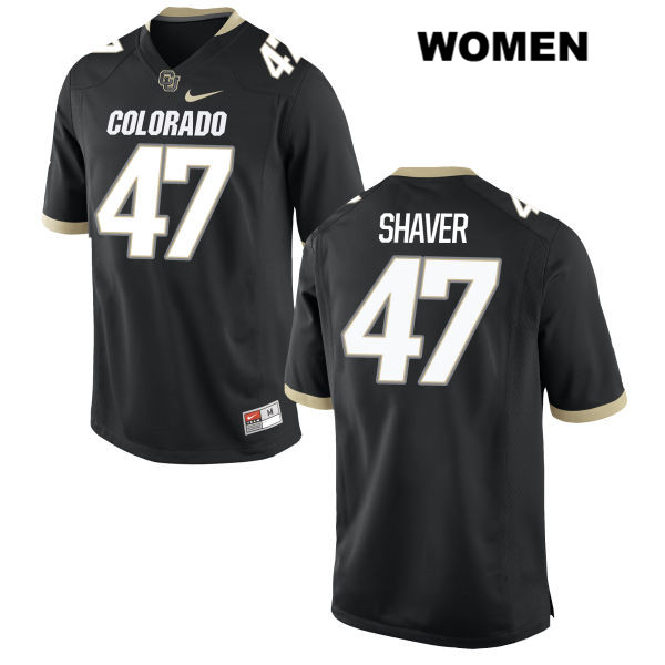 Christian Shaver Womens Stitched Black Nike Colorado Buffaloes Authentic no. 47 College Football Game Jersey - Christian Shaver Jersey