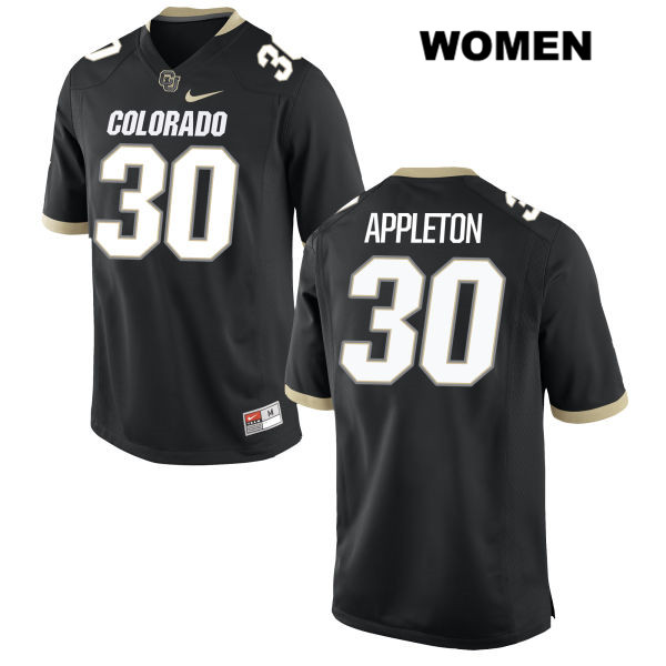 Curtis Appleton Womens Black Colorado Buffaloes Stitched Nike Authentic no. 30 College Football Game Jersey - Curtis Appleton Jersey