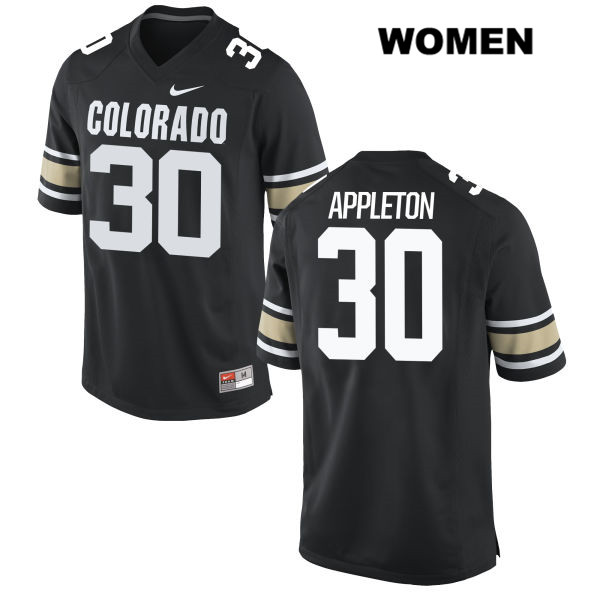 Stitched Curtis Appleton Womens Black Colorado Buffaloes Authentic Nike no. 30 College Football Jersey - Curtis Appleton Jersey