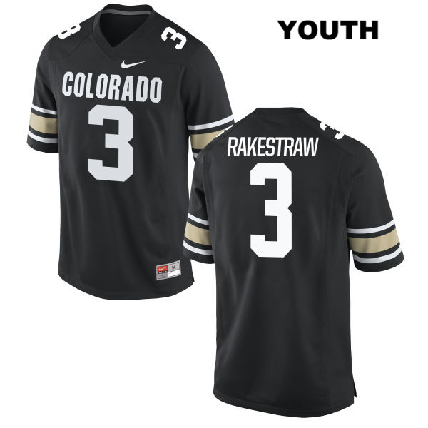Derrion Rakestraw Stitched Youth Nike Black Colorado Buffaloes Authentic no. 3 College Football Jersey - Derrion Rakestraw Jersey
