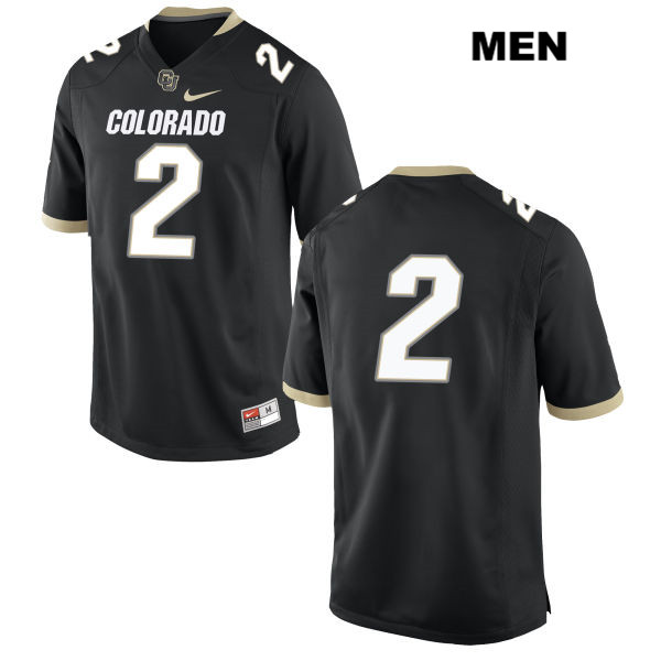 Devin Ross Nike Mens Stitched Black Colorado Buffaloes Authentic no. 2 College Football Game Jersey - No Name - Devin Ross Jersey