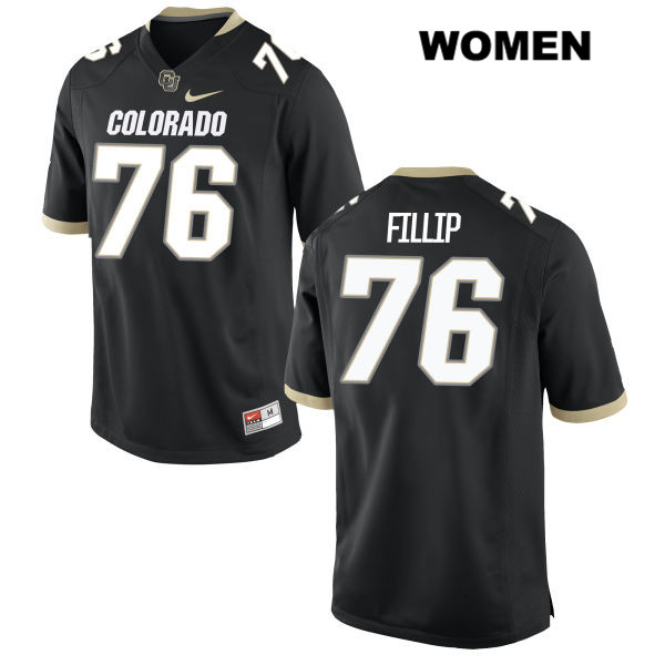 Frank Fillip Womens Stitched Black Nike Colorado Buffaloes Authentic no. 76 College Football Game Jersey - Frank Fillip Jersey