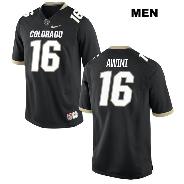 Jaleel Awini Stitched Mens Black Nike Colorado Buffaloes Authentic no. 16 College Football Game Jersey - Jaleel Awini Jersey