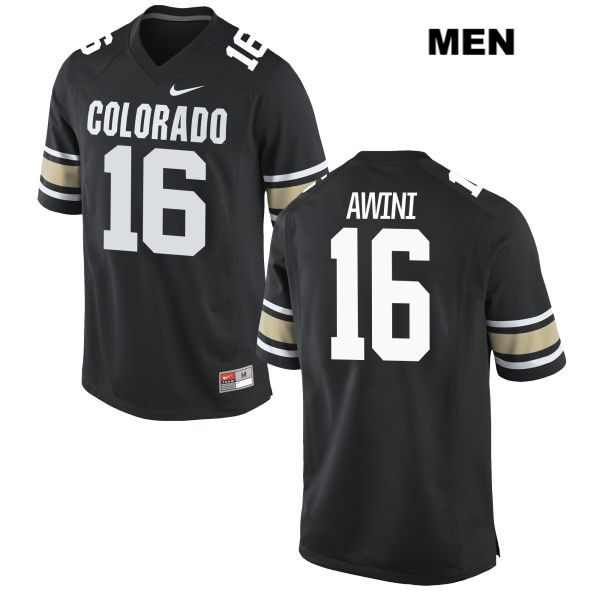 Jaleel Awini Mens Black Colorado Buffaloes Nike Authentic Stitched no. 16 College Football Jersey - Jaleel Awini Jersey
