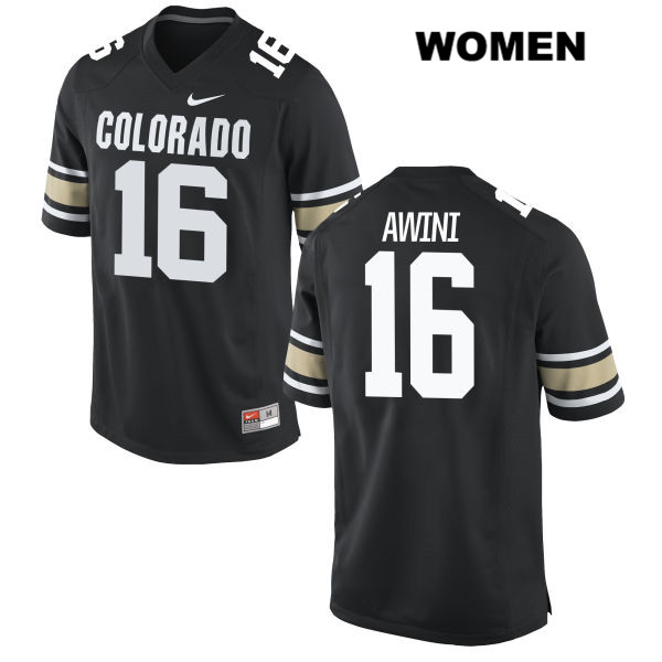 Jaleel Awini Womens Stitched Black Colorado Buffaloes Nike Authentic no. 16 College Football Jersey - Jaleel Awini Jersey