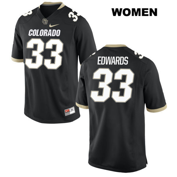 Javier Edwards Womens Stitched Black Colorado Buffaloes Nike Authentic no. 33 College Football Game Jersey - Javier Edwards Jersey