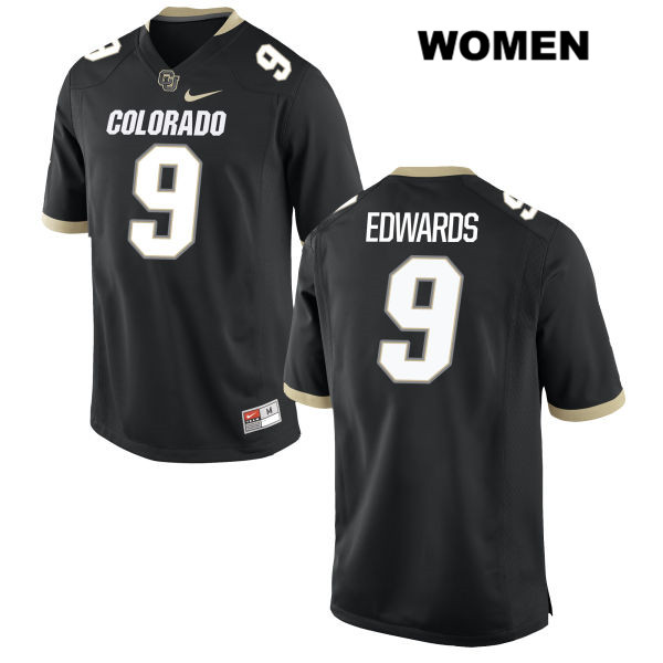Javier Edwards Womens Stitched Black Nike Colorado Buffaloes Authentic no. 9 College Football Game Jersey - Javier Edwards Jersey