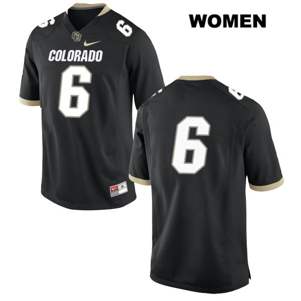Nike Johnny Huntley III Womens Black Colorado Buffaloes Authentic Stitched no. 6 College Football Game Jersey - No Name - Johnny Huntley III Jersey