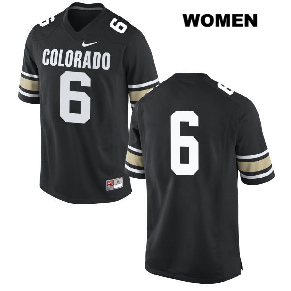 Johnny Huntley III Stitched Womens Black Colorado Buffaloes Authentic Nike no. 6 College Football Jersey - No Name - Johnny Huntley III Jersey