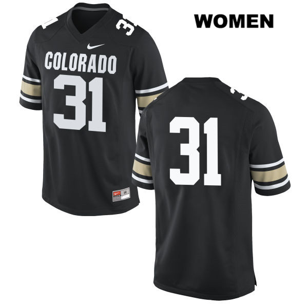 Nike Jonathan Van Diest Womens Black Colorado Buffaloes Authentic Stitched no. 31 College Football Jersey - No Name - Jonathan Van Diest Jersey