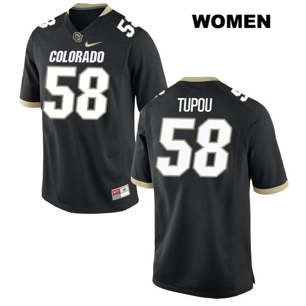 Josh Tupou Womens Black Nike Colorado Buffaloes Authentic Stitched no. 58 College Football Game Jersey - Josh Tupou Jersey