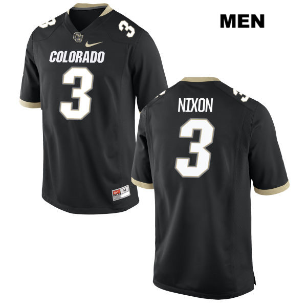 K.D. Nixon Nike Mens Stitched Black Colorado Buffaloes Authentic no. 3 College Football Game Jersey
