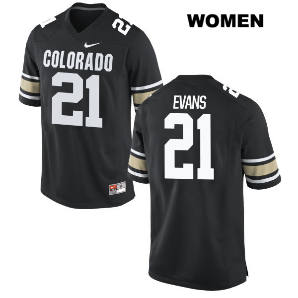 Kyle Evans Womens Nike Black Colorado Buffaloes Stitched Authentic no. 21 College Football Jersey - Kyle Evans Jersey