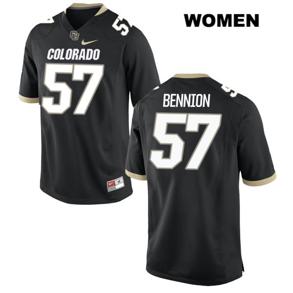 Sam Bennion Stitched Womens Black Colorado Buffaloes Authentic Nike no. 57 College Football Game Jersey - Sam Bennion Jersey