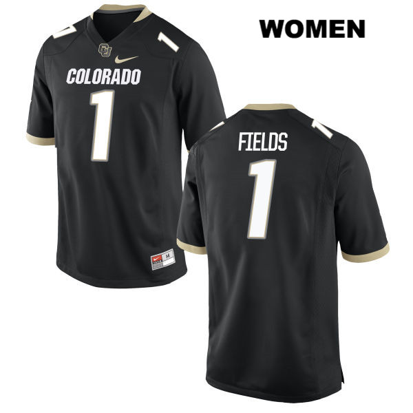 Shay Fields Stitched Womens Black Colorado Buffaloes Nike Authentic no. 1 College Football Game Jersey - Shay Fields Jersey