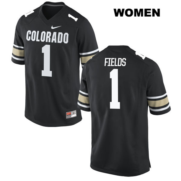 Shay Fields Womens Nike Black Colorado Buffaloes Authentic Stitched no. 1 College Football Jersey - Shay Fields Jersey