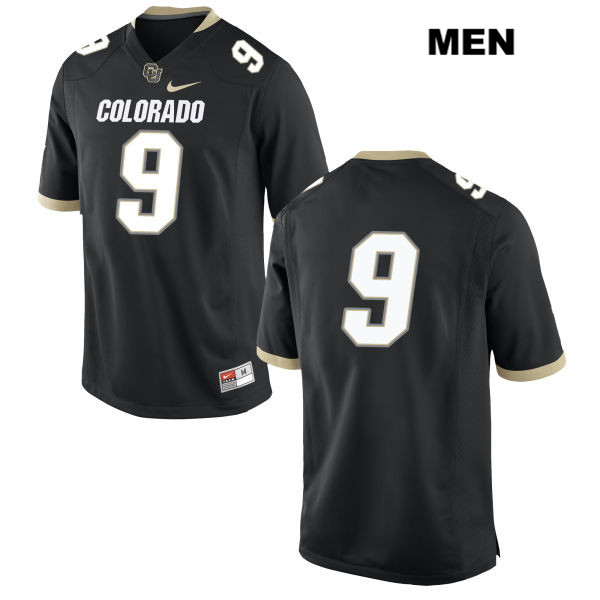T.J. Patterson Nike Mens Black Colorado Buffaloes Stitched Authentic no. 9 College Football Game Jersey - No Name - T.J. Patterson Jersey
