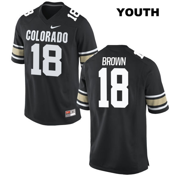 Tony Brown Youth Black Colorado Buffaloes Authentic Stitched Nike no. 18 College Football Jersey - Tony Brown Jersey