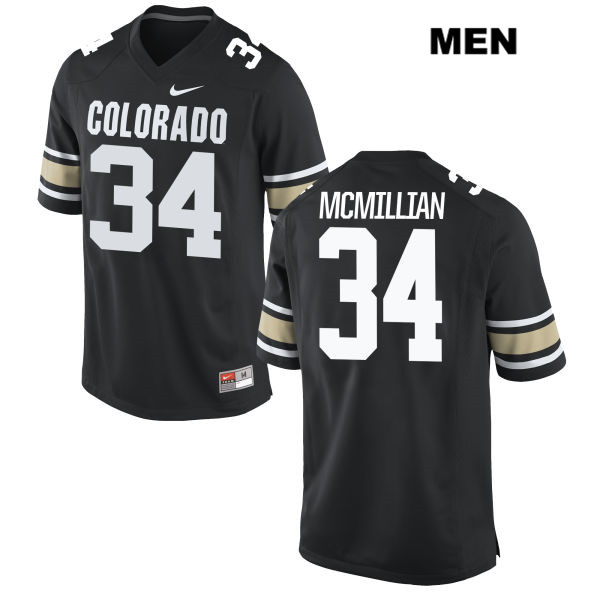 Stitched Travon McMillian Mens Black Colorado Buffaloes Nike Authentic no. 34 College Football Jersey - Travon McMillian Jersey