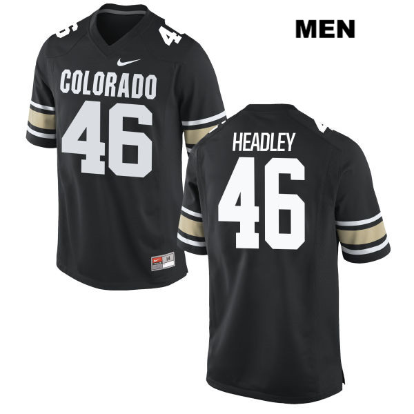 Trent Headley Nike Mens Black Colorado Buffaloes Authentic Stitched no. 46 College Football Jersey - Trent Headley Jersey