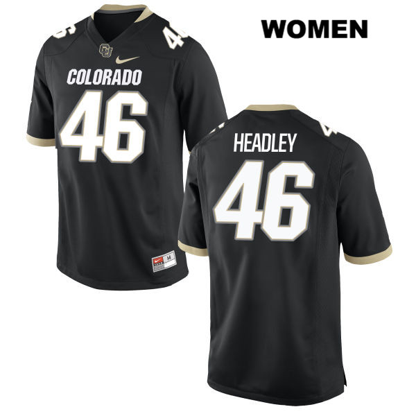 Trent Headley Stitched Womens Black Colorado Buffaloes Authentic Nike no. 46 College Football Game Jersey - Trent Headley Jersey