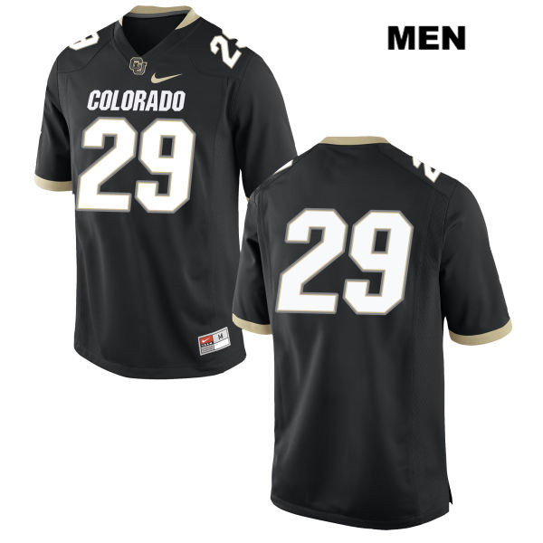 Uryan Hudson Stitched Mens Black Colorado Buffaloes Nike Authentic no. 29 College Football Game Jersey - No Name - Uryan Hudson Jersey